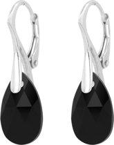 ARLIZI 1594 Oorbellen Swarovski Kristal Hanger - Dames - 925 Sterling Zilver - 3 cm - Zwart