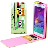 Samsung Galaxy Note 4 - Flip hoes, cover, case - PU leder - TPU - verticaal - Uil