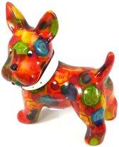 Pomme Pidou spaarpot hond Boomer - Uitvoering - Oranje met gekleurde stippen