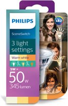 Philips Sceneswitch Led GU10 5w/50w 2700k SSW 3 standen 50w/25w/10w SCENE SWITCH