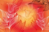 Fotobehang Bloemen | Rood, Oranje | 416x254