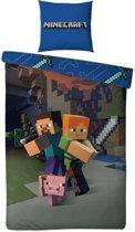 Minecraft Attack - Dekbedovertrek - Eenpersoons - 140 x 200 cm - Multi