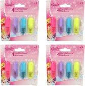 Disney Frozen 16x Mini Markeerstiften voor Kinderen | Felle Tekstmarkers in 4 Kleuren voor Meisjes | Highlighters | Markers
