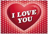 Romantische ansichtkaart / Valentijnskaart met hartjes - 14,8 x 21 cm