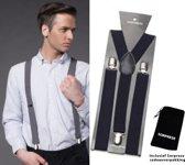 Bretels - Donker blauw - Sorprese - met stevige clip - luxe - heren bretels - unisex