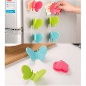 Pannenlap vlinder - set van 2 stuks - koelkast magneet - siliconen blauw -