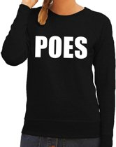 Poes tekst sweater / trui zwart voor dames L