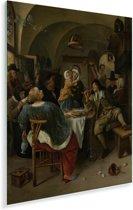 Familietafereel - Schilderij van Jan Steen Plexiglas 30x40 cm - klein - Foto print op Glas (Plexiglas wanddecoratie)