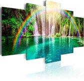 Schilderij - Regenboog en waterval