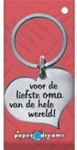 RVS Hart Sleutelhanger - Voor de liefste oma van de hele wereld!