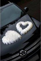 Trouwauto decoratie hart wit