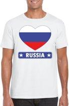 Rusland t-shirt met Russische vlag in hart wit heren L