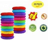 20 stuks - Muggenbandje - Anti muggen armband -  - muggen armbandjes - DEET vrij - muggen verjager -  armbandje tegen muggen - muggenbescherming