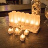 LED kaarsen 12 - 15 uur oplaadbaar 12 stuks | vlamloze en veilige candle lights | led kaars | led-kaarsen | candlelights | oplaadbare waxine lichten