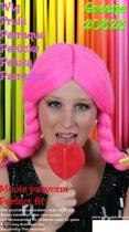 Carnavalspruik Pruik greetje pink
