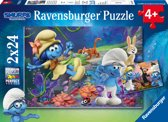 Ravensburger The Smurfs, het verloren dorp. Twee puzzels - 24 stukjes - kinderpuzzel