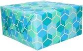 Inpakpapier blauw honingraat - 200 x 70 cm - cadeaupapier / kadopapier