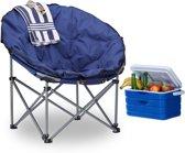 Campingstoel Donkerblauw - papasan inklapbaar - XXL relax kampeerstoel gepolsterd