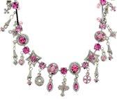 Ketting zilver-kleur met roze hangers