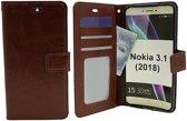 Nokia 3.1 - Bookcase Bruin - portemonee hoesje
