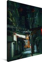 Een steegje tijdens de nacht Canvas 20x30 cm - klein - Foto print op Canvas schilderij (Wanddecoratie woonkamer / slaapkamer)