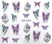 2 vel water overdraagbare nagelstickers: Engelen en vlinders