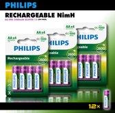 Philips AA oplaadbare batterijen - 2600 mAh -voordeelverpakking - 12 stuks