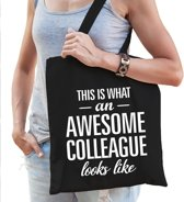 Kadotas This is what an awesome collaegue looks like zwart katoen - cadeautas voor collega's