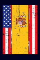 Spanish American Flag Notebook: 6x9 college lined notebook to write in with the flags of Spain and the United States