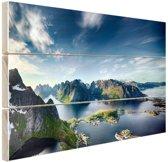 Panoramisch uitzicht Lofoten Noorwegen Hout 120x80 cm - Foto print op Hout (Wanddecoratie)