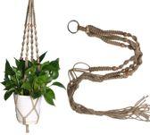 Stijlvolle Plantenhanger – 100 CM - Touw / Macramé - Plantenhouder - Hangplant - Planten Accessoires   Bruin