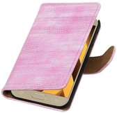 Samsung Galaxy A3 (2017) Hoesje Hagedis Bookstyle Roze