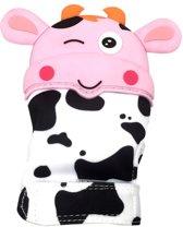 SUPER LIEF! Bijthandschoen - Koetje Roze -Bijthandschoentje - kraamkado-Bijt -tandjes-kado-knuffel- speelgoed - handschoen - bijtring - speelgoed - kraamcadeau