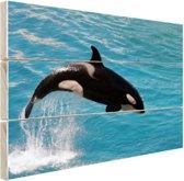 Springende kleine orka Hout 30x20 cm - klein - Foto print op Hout (Wanddecoratie)