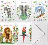 Kaartenset mix - 10 stuks - A6 - Wenskaarten met envelop - Verjaardagskaart - Liefdeskaart - Papegaai - Olifant - Zebra - Dolfijn - Leeuwen - Tropische decoraties - Schilderingen in aquarel door Mies to Go