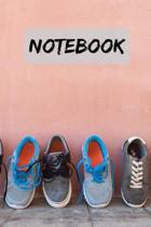 Notebook Trainers against wall/ Journal Diary Notepad.: 6x9'' 120 Page Blank lined Note book.