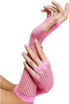 Visnet handschoenen roze