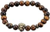 Fako Bijoux® - Buddha Armband - Leeuw - Tijgeroog - Goudkleurig