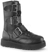 VALOR-210 - (EU 36 = US 4) - 1 1/2 Patform Lace-Up Mid-Calf Boot, Side Zip
