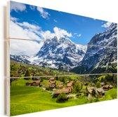 Panoramisch zicht op het dorp Grindelwald en Wetterhorn in Zwitserland Vurenhout met planken 30x20 cm - klein - Foto print op Hout (Wanddecoratie)