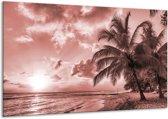 Glas schilderij Zee, Strand | Bruin, Rood | 120x70cm 1Luik | Foto print op Glas |  F006551