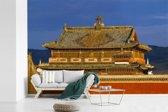 Fotobehang vinyl - Het Erdene Zuu klooster op een zonnige dag in het Aziatische Mongolië breedte 390 cm x hoogte 260 cm - Foto print op behang (in 7 formaten beschikbaar)