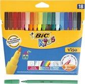 BIC kids stiften - Set van 18st - Fasermaler Visa -  Kartonetui
