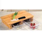 Verhoogde 2-1 FSC® Bamboe Snijplank met 2 uitschuifbare opvang bakken / opvang Containers   2 Opvangbakken voor Groente of fruit   Keuken snijplank Rechthoekig   Snij Plank met opvangbak    Afm. 41 x 26,5 x 8 cm