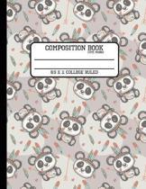 Composition Book Cute Panda 8.5 x 11 College Ruled
