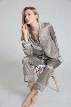 Dames zijden pyjama set , Crème wit, XL