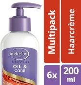 Andrélon Oil & Care Haarcrème - 6 x 200 ml - Voordeelverpakking