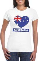 Australie hart vlag t-shirt wit dames S