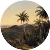 Behangcirkel - Tropisch landschap met palmbomen - Ø 100 cm. Vliesbehang 200 grams A-Kwaliteit. Art. BC005