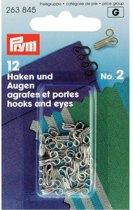Prym Haken en ogen Messing Zilverkleurig No. 2